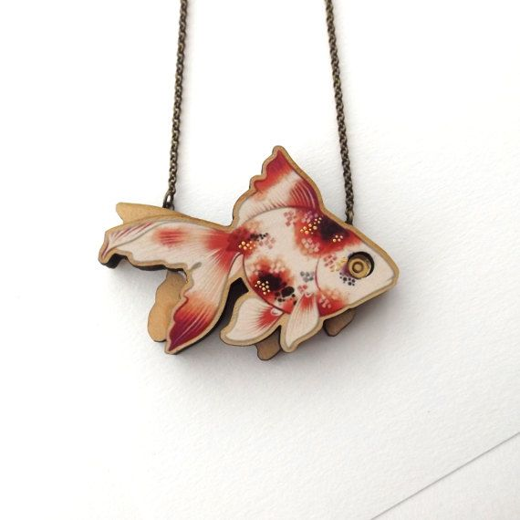 Laser Cut Fantail Goldfish Statement Necklace an illustrated