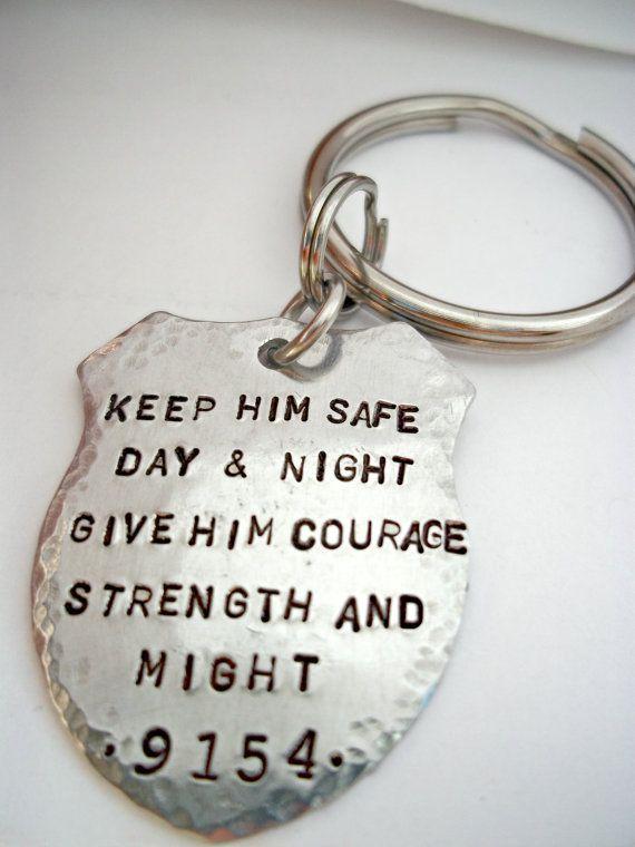 Police Prayer Badge Keychain Officer Law by StampedbyShaye on Etsy, $20.00