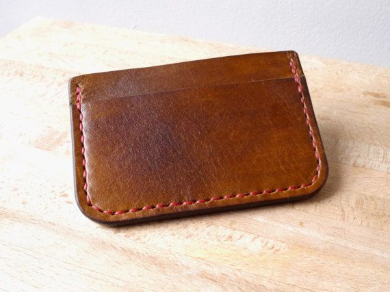 Kinglsey Leather - Leather Wallet / Card Holder - A Handmade Mens Slim Wallet with Cash Pocket - Available in Black, Brown, Red, Tan and Natural Leather