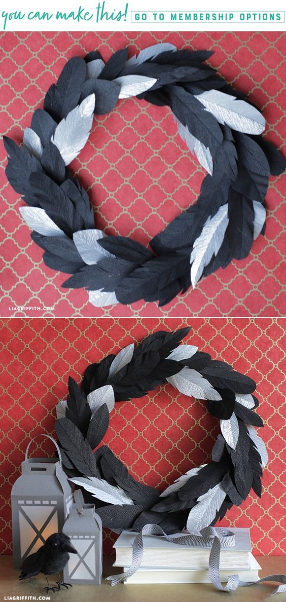 Crepe Paper Crow Feather Wreath - www.liagriffith.com #diyfalldecor #diyhalloween #diyinspiration #diyidea #diyideas #diyproject #diyprojects #crepepaperrevival #diywreaths #madewithlia