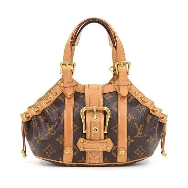 Pre-Owned Louis Vuitton Theda Pm Monogram Canvas Hand Bag e1520 ($765) ❤ liked on Polyvore featuring bags, brown, white canvas bag, pre owned bags, louis vuitton, checkered bag and hardware bag