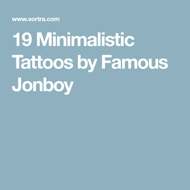 19 Minimalistic Tattoos by Famous Jonboy