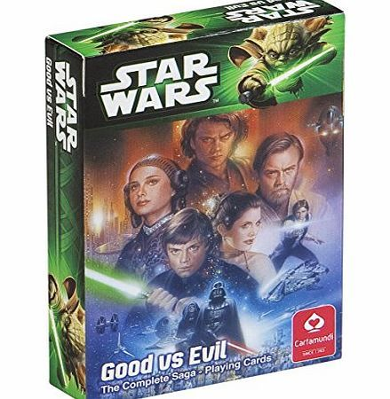 Cartamundi Star Wars Good vs Evil The Complete Saga Playing Cards High Quality Playing Cards. Featuring 54 picture cards. Sealed deck in a picture box. Officially licensed Lucasfilm Ltd merchandise. (Barcode EAN = 5411068002687). http://www.comparestoreprices.co.uk//cartamundi-star-wars-good-vs-evil-the-complete-saga-playing-cards.asp