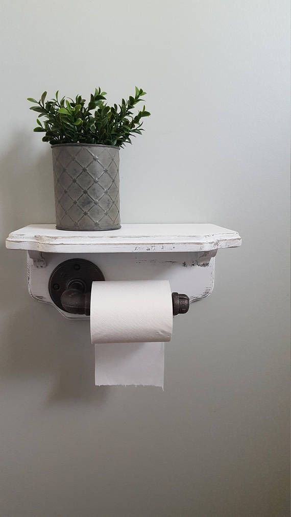 Rustic bathroom decor, Rustic toilet paper holder with pipe