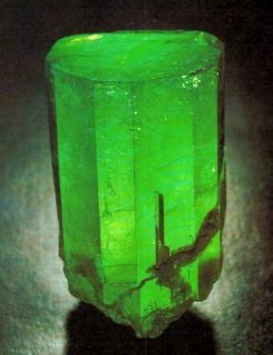 Emeralds are beryl crystals colored green by chromium. This beauty from Columbia shows their naturally-occuring shape.