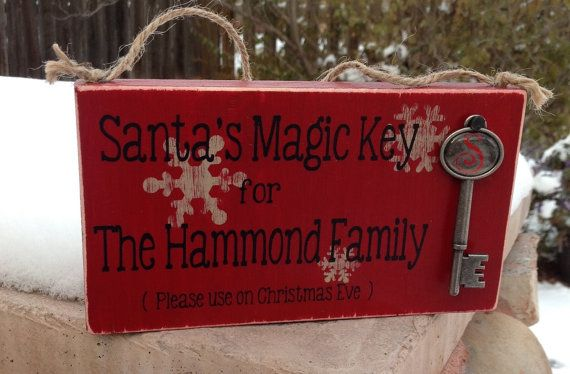 Santa's Magic Key Sign. Personalized Christmas Sign with Santa's special key! Christmas Decoration with Santa Claus' magic key!