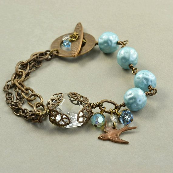Brass Bracelet Bluebird  Vintage Glass Handmade by NansGlam