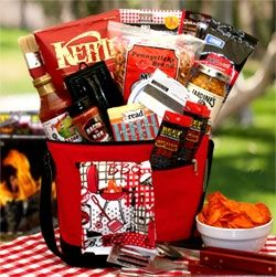 Set your favorite griller up this barbecue season with a gift set featuring Classic BBQ Sauce, barbecue kettle chips, beer cheese dip, flammin hot Smokey beef steak jerky and other gourmet goodies. They'll be ready to roll on the grill right now and straight on through the summer! The The Master Griller BBQ Gift Chest includes:12 pack cooler bag, Bacon Cheeseburger cheese dip, flamin hot beef steaks, Jardines Corn relish dip, Smokey sweet barbecue sauce, bacon rub salt, barbecue kettle…