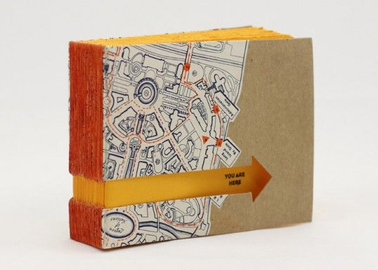 Book Cover Craft Map : A hand stitched notebook with cover made from an