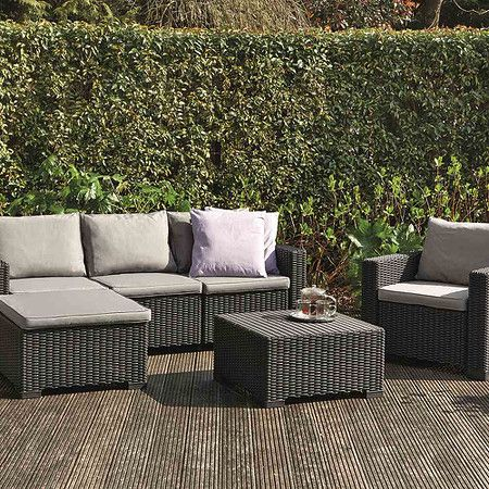 Loungeset Moorea, Graphit 1x Sessel, 1x 3er Bank, 1x Hocker 1x Tisch.  Beautiful Garden