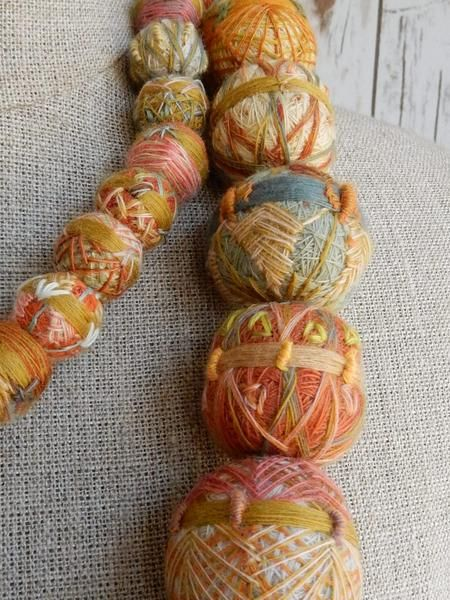 These fantastic textile beads are bigger than gumballs! Wear long or doubled. By Sophie Digard. 52 inches.