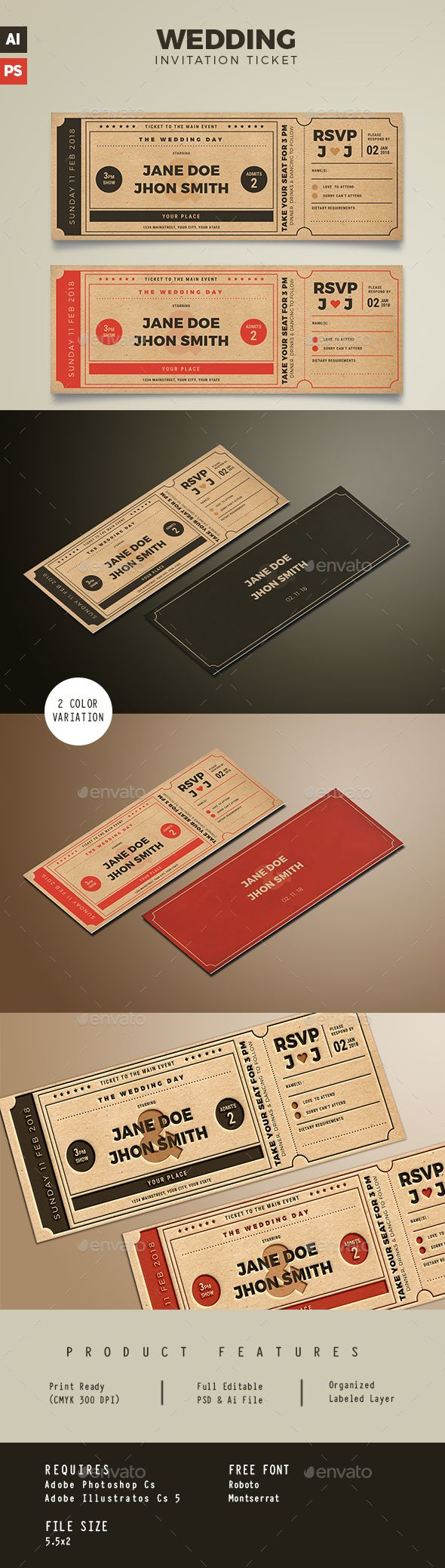 Wedding Invitation Movie Ticket by Vynetta02 FEATURESSize 5.5×2 bleed Well Organized Layer Print Ready CMYK 300 DPI Editable Text, image, font, Color 2 ALTERNATIVE COLORS FO