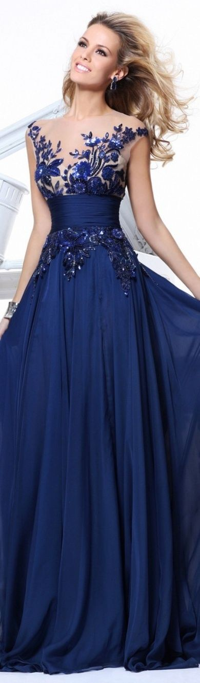 Blue evening gown with lace top by TARIK EDIZ