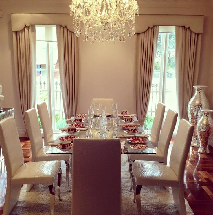 The ideal way to heat and cool your home is to thoughtfully consider good quality fully lined drapes and pelmets. We've installed sheerweave roller blinds and heavy 3 pass lined drapes with custom made pelmets to match and emphasise the decorative features in this formal dining room.