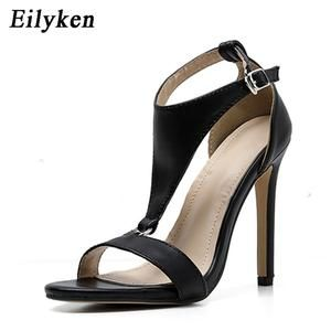 be2b627e50e Eilyken 2019 New Gladiator Women Sandals Peep Toe High Heels Black Button  Thin heel Shoes Fashion