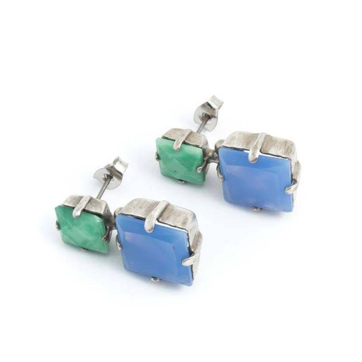 De Luxe Blauwe oorbellen met chalcedoon en groene aventurijn