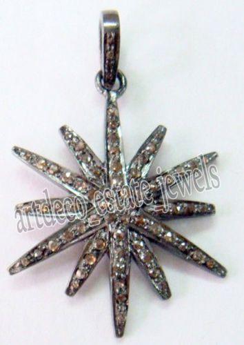 Rose Diamond 925 Silver Pendant by antiquediamondjewels