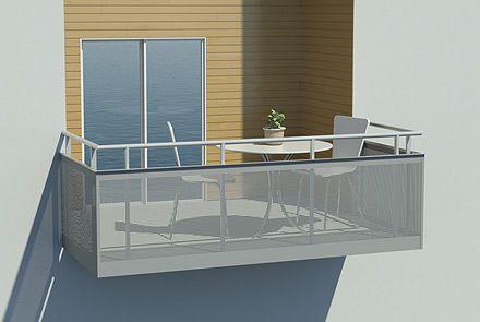Balkongräcke med utvändig perforerad plåt - Hogstad Aluminium AB