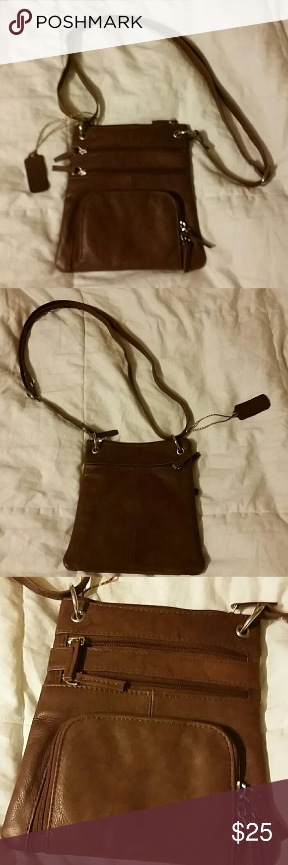 """Bacci brown leather festival bag Small leather purse with an adjustable strap.  8"""" long x 7"""" wide.  Front and back zip pockets.  NWOT. Bacci Bags Crossbody Bags"""
