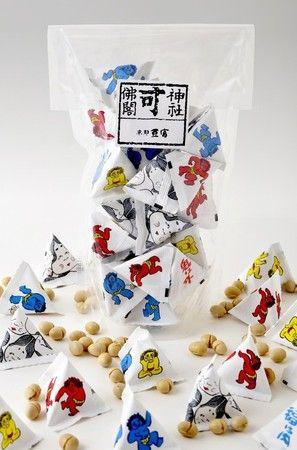 京都豆冨本舗 : 三角袋福豆 Japanese Packaging