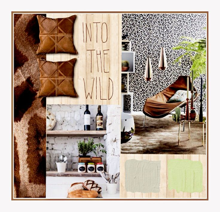 Interior moodboard design into the wild travel safari africa (vintage wood)
