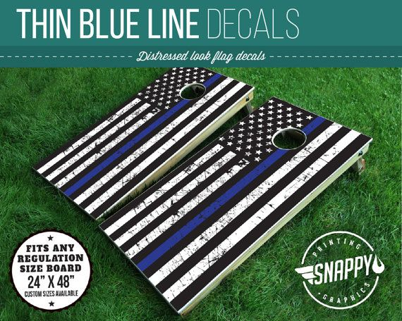 Thin Blue Line American Flag Distressed Look Cornhole Decal