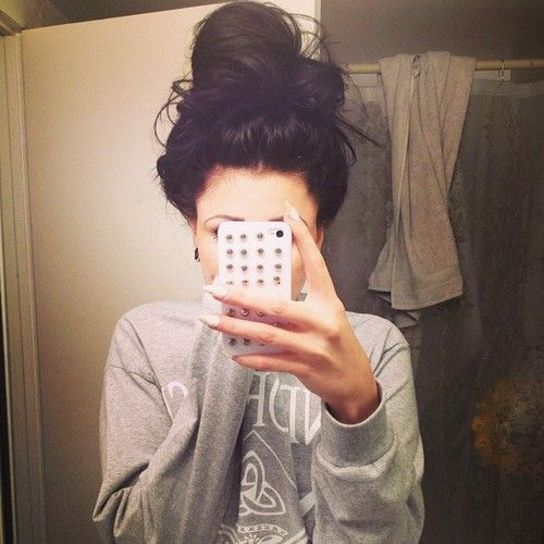 I would like to know how to make a messy bun with long and thick hair! Because quite honestly I can't ever get my hair up and out of the way but still be cute!!