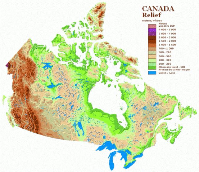 Relief Map of Canada