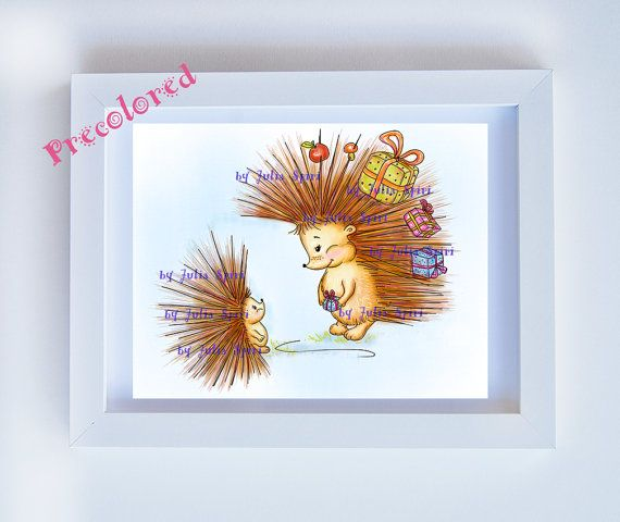 Hedgehog Precolored Kids decor Art girl download by JuliaSpiri