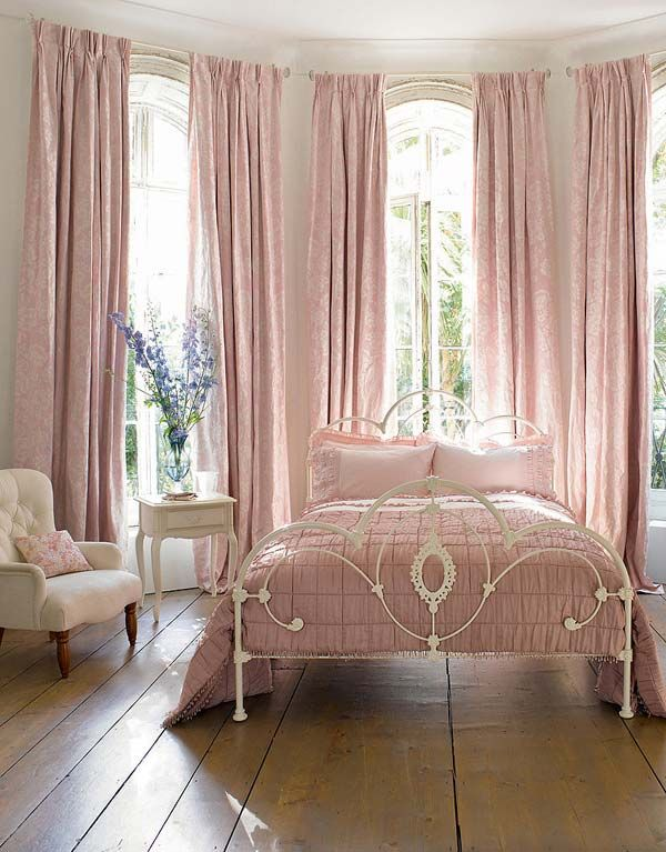 Dreamy Romantic Dusty Pink Bedroom With White Iron Bed