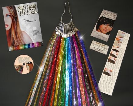hair tinsel from hair flairs. Would be cute for Christmas parties!
