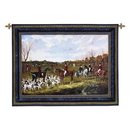 Fine Art Tapestries The Meet of the East Suffolk Hounds at Chippenham Park Wall Tapestry, Blue