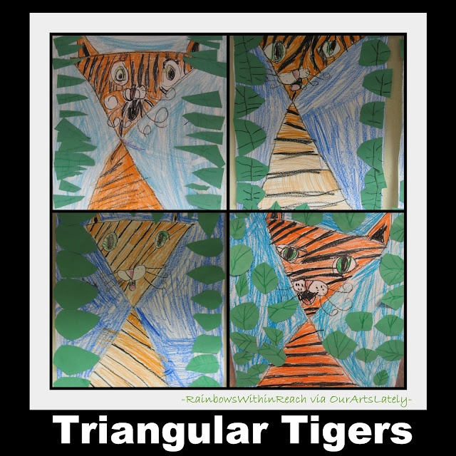 Triangular Tigers: Zoo and Jungle Animals art projects (from Our Arts Lately visit)