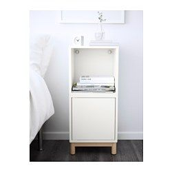 IKEA - EKET, Storage combination with legs, white, , Hide or display your things by combining open and closed storage.Can be used as a utility bench in the bedroom or hallway.The door has an integrated push-opener so you can open it with just a light push.