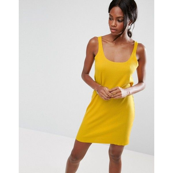 ASOS Ultimate Ribbed Mini Tank Dress with Raw Edge ($24) ❤ liked on Polyvore featuring dresses, yellow, yellow dress, mini dress, yellow prom dresses, going out dresses and night out dresses