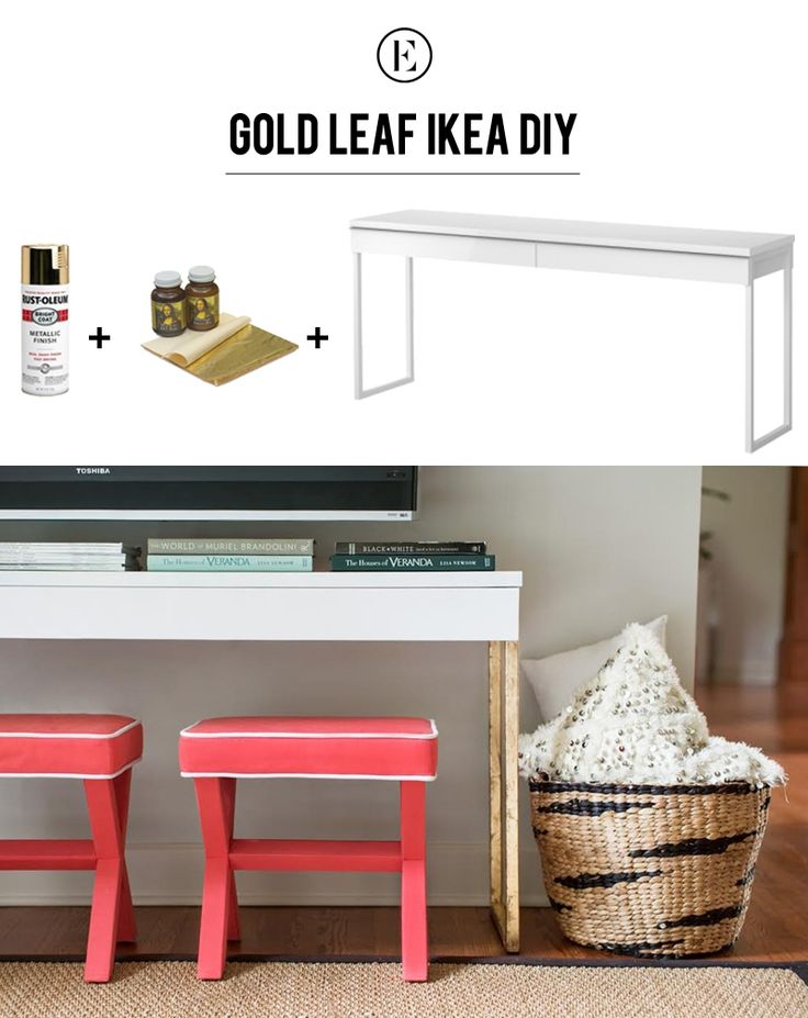 DIY Gold Leaf Ikea Console Table #theeverygirl