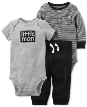 Carter's 3-Pc. Cotton Little Man Bodysuits & Jogger Pants Set, Baby Boys (0-24 months) - Black 3 months