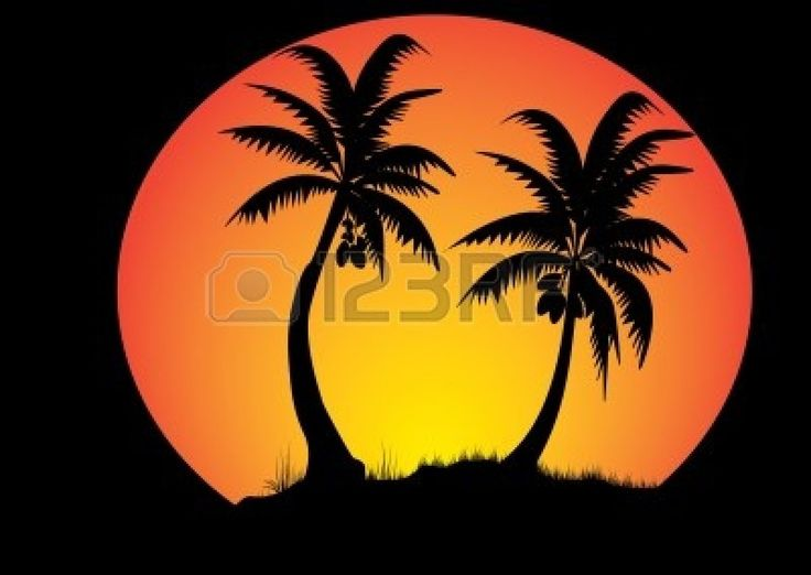 two coconut trees with sunset background in a circle Stock Vector