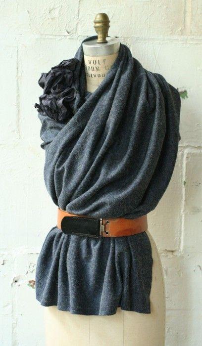 Drape then belt your scarf---add flower pins at you shoulder.