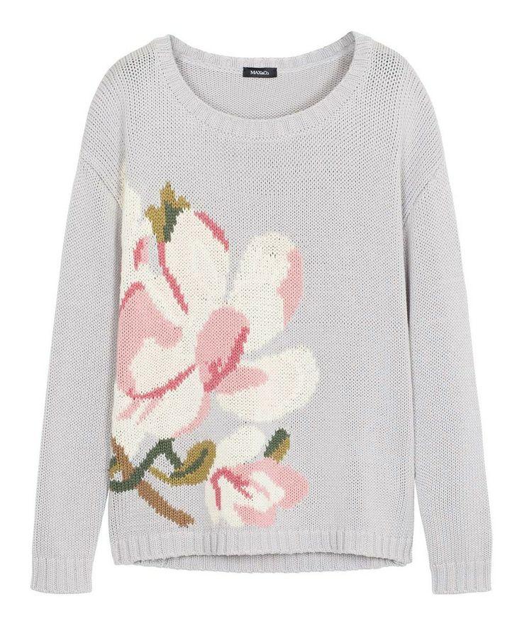SALGARI Pull di cotone con intarsio floreale | MAX&Co. Online Shop