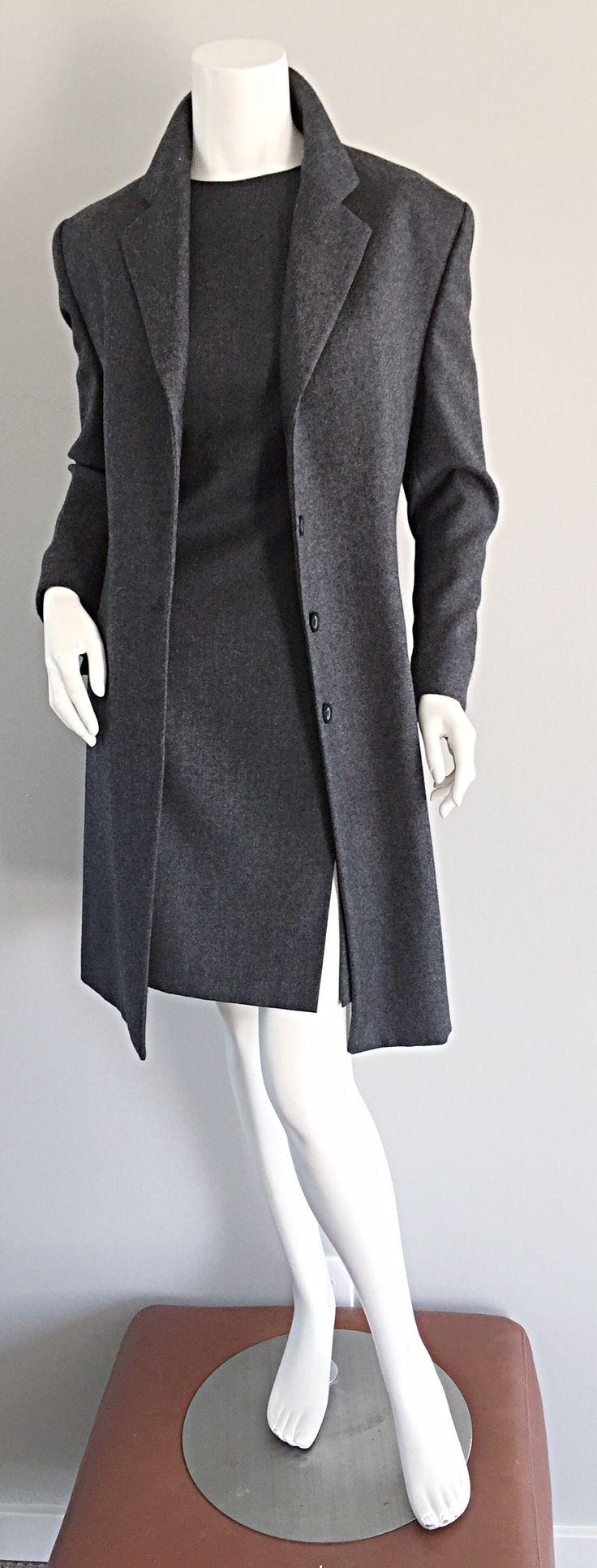 1990s Max Mara ' Woolmark ' Classic Charcoal Grey Dress + Jacket Ensemble