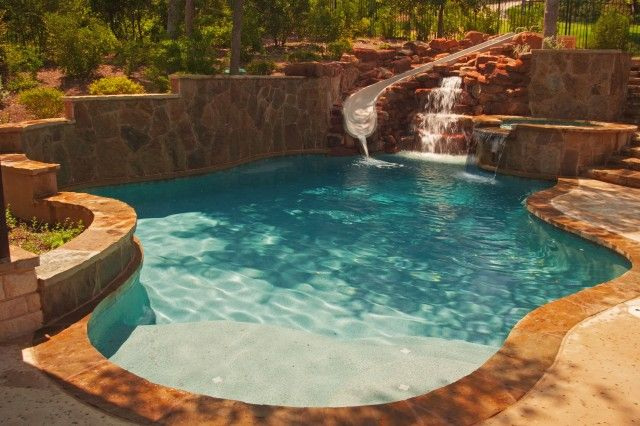 Freeform Pool with Rock Waterfalls (With images) | Pool ... |Small Freeform Pools With Waterfalls