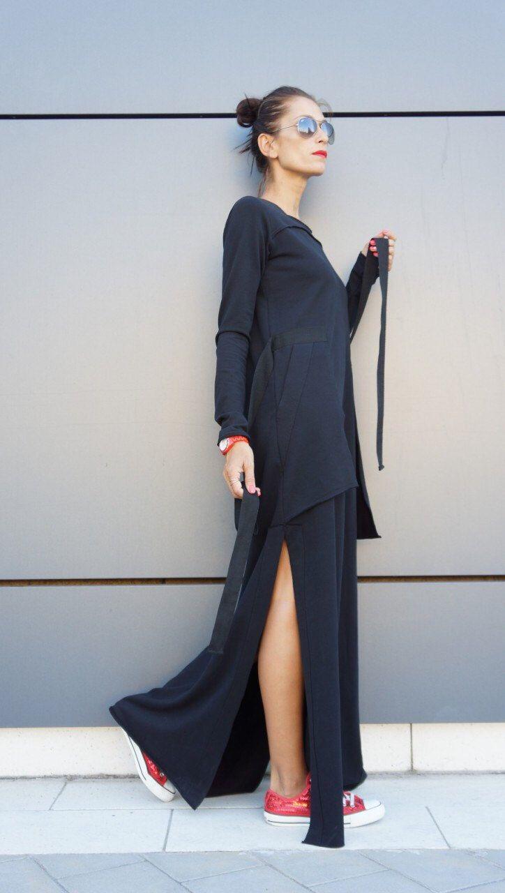New  Maxi Dress / Black Kaftan Cotton  Dress /Side Pockets