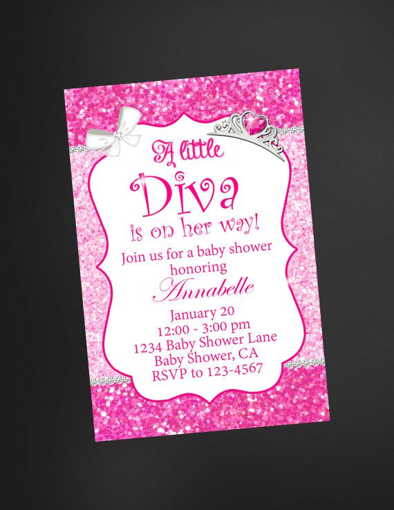 Hey, I found this really awesome Etsy listing at https://www.etsy.com/listing/223297482/little-diva-pink-glitter-baby-shower