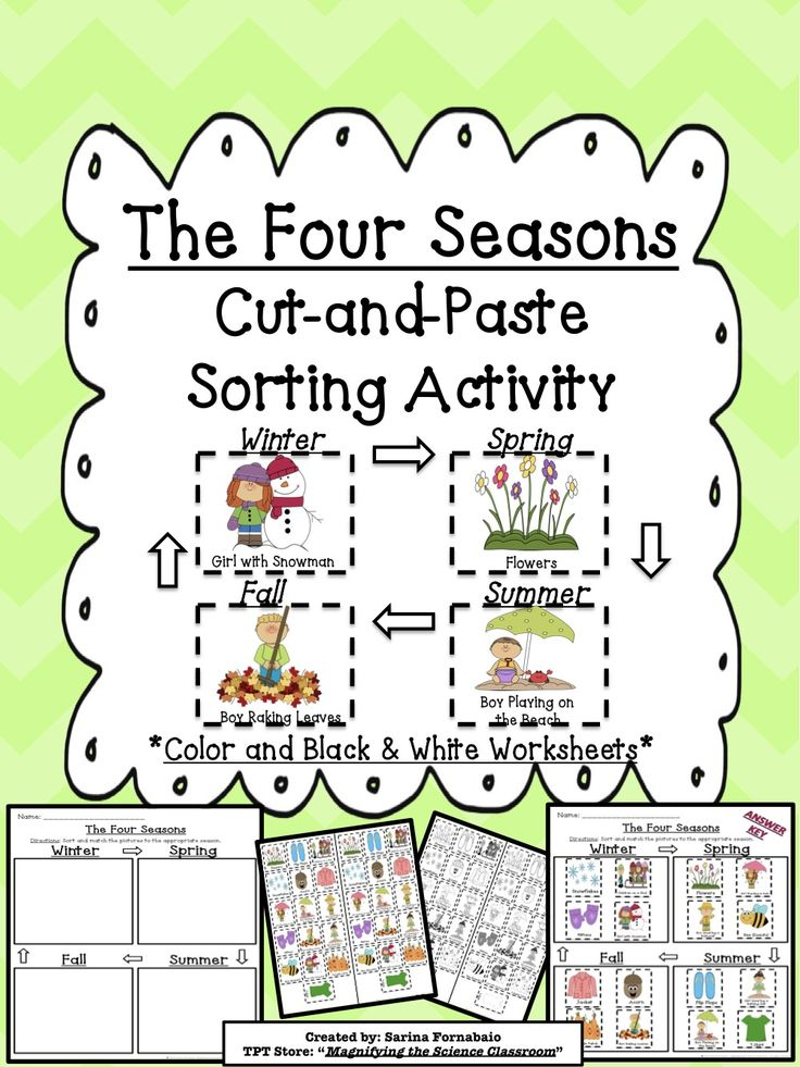 the four seasons cut and paste sorting and matching activity science seasons activities. Black Bedroom Furniture Sets. Home Design Ideas