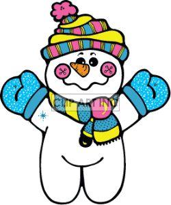 cartoon snowman wearing blue mittens