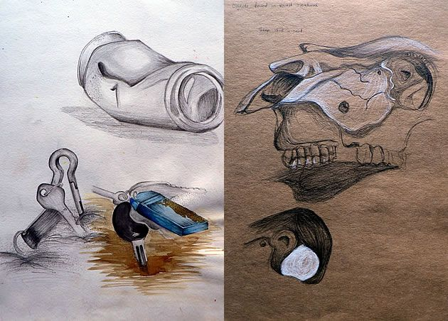 Both these sketchbook pages were drawn from direct observation – something that is highly encouraged within CIE IGCSE Art and Design curriculum. Objects were buried in sand (in a tray in the classroom). The second sketchbook page depicts a black and white drawing of a cow skull on brown paper, using skulls that were borrowed from the school Science Department.