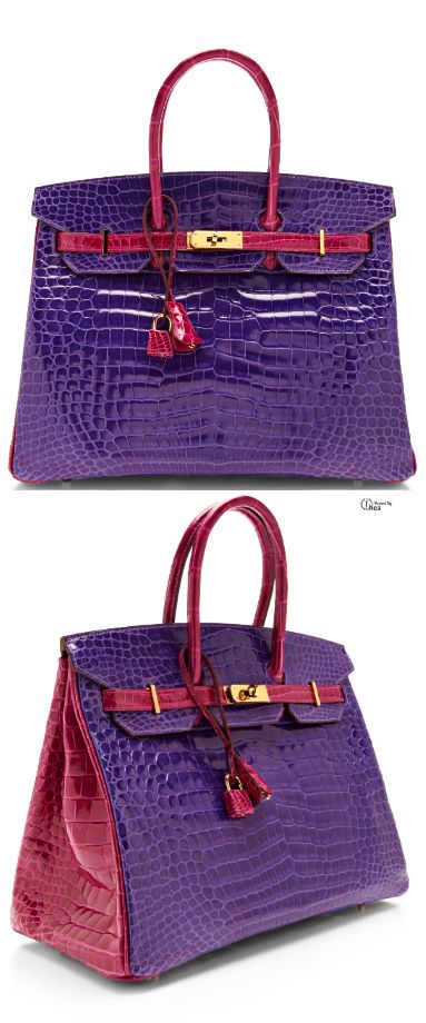 The New Hermes 35Cm Horseshoe Birkin in ultra violet and rose.