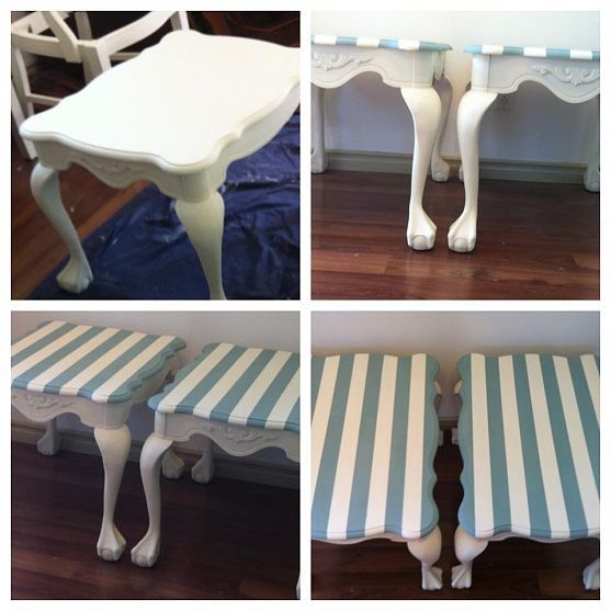 painting my ball and claw side table in off white for my patio - betw the two single chairs