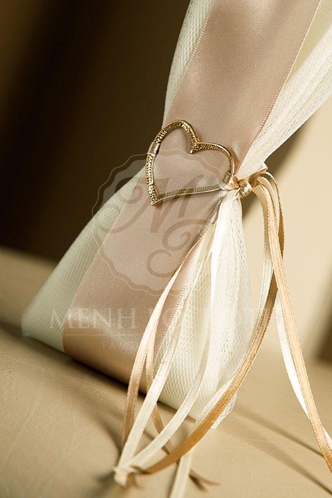 Μπομπονιέρα γάμου με μεταλλική καρδιά
